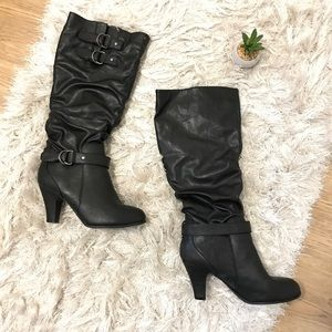Rampage Eleanor 8.5 Black Heeled Dress Boots